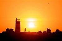 Sunset at the lighthouse of Nazareth, Nazareth, Portugal, Europe