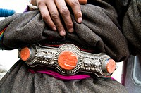 A traditional Tibetan belt decorated with semi precious stones.