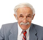 Portrait of an elder happy man on white background