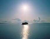 Lake Shinjiko, lens flare, Matsue city, Shimane prefecture, Japan
