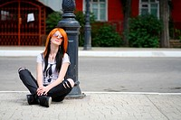 redhead women outdoors in the street