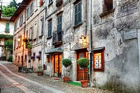 an alley in the evening in Orta San Giulio, Piedmont, Italy in the historic Old Town