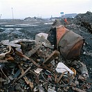 Waste tip at steelworks South Wales 1995.