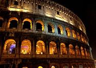 Illuminated Colosseum at night
