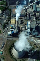 Aerial view of coal electrical power station Emile Huchet, Carling / Saint Avold, Moselle, Lorraine, France