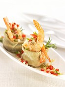 Artichoke hearts with shrimps and diced peppers