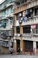 Macanese apartment buildings in central Macau  Macau  China.