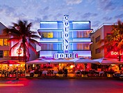 Colony Hotel at dusk, South Beach, Miami