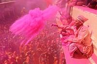 India, Uttar Pradesh, Holi festival, Colour and spring festival celebrating the love between Krishna and Radha.