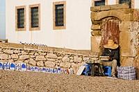 Street painter in coastal city, Essaouira, Morocco, february