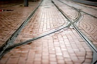Track for trolley cars in the streets of Rotterdam, Netherlands.