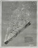 Illustration _ Titanic Sinking. RMS Titanic Sinking. Illustration shows the wreck sinking towards the ocean bed. Above is the mass of turbulant water ...