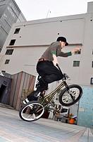 Hiroshima (Japan): biker training in the city center