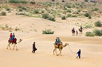 Tourists riding camels on Sam dunes in Desert National Park in the Great Thar Desert,near Jaisalmer, Rajasthan, India