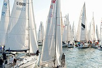 Germany, Lake Constance, Sailing boats on lake with people