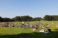 Germany, Bavaria, Upper Bavaria, Munich, Tourist in Englischer Garten park near Monopteros temple