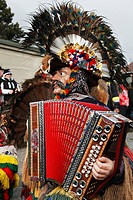 Austria, Tyrol, People in traditional clothing at carnival