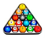 Snooker pool billiards balls colourful numbered