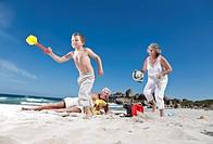 Boy running from grandmother's sunscreen