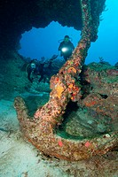 Scuba divers with anchor
