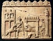 Roman civilization, 1st century b.C. Terracotta relief depicting lions and gladiators fighting in the circus.  Roma, Museo Nazionale Romano Palazzo Ma...