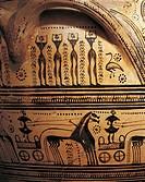 Greek civilization 8th century b.C. Geometric ceramic. Detail from a crater. From the Kerameikos (ceramics) necropolis in Athens.  Athens, Ethnikó Arh...