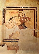 Greek civilization, 6th century b.C. Pinax (votive tablet) depicting a Hoplite soldier running (520 b.C.)  Athens, Moussío (Acropolis Museum, Archaeol...