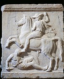 Greek civilization, 4th century b.C. Relief depicting a fight between a horseman and a soldier. From the Old Academy of Athens, Greece.  Athens, Ethni...