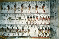 Egypt - Ancient Thebes (UNESCO World Heritage List, 1979) - Luxor - Valley of the Kings - Tomb of Seti I, New Kingdom, Dynasty XIX. Interior with fres...
