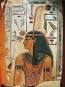 Egyptian civilization, New Kingdom. Maat, painted stucco relief.  Florence, Museo Archeologico Nazionale (Archaeological Museum)