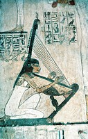 Egypt - Luxor - Ancient Thebes (UNESCO World Heritage List, 1979) - Tomb of Rekhmire. Frescos depicting a scene of the funerary banquet. Detail with h...