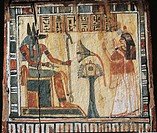 Egyptian civilization, New Kingdom, Dynasty XIX-XX. Box for shabtis of Tamutnofret. Painted wood. Detail with the deceased and god Anubi.  Florence, M...