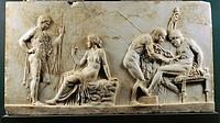 Roman civilization, 1st century b.C. Relief of Telephus. Pentelicus marble. The myth of Telephus. From Herculaneum, House of the Relief of Telephus.  ...
