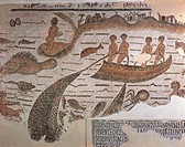 Roman civilization, 3rd century A.D. Mosaic depicting net fishing and octopus fishing. From Sidi Abdakkah, Tunisia.  Tunis, Musée National Du Bardo (A...