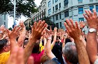 -Demonstration Indignants Movement 15M- 19 of Juny 2011, Barcelona (Spain).