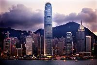 Hong Kong Harbor Evening Sunset from Kowloon