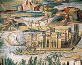 ROMAN ART, THE CENTURY BC FROM THE SANCTUARY OF ANCIENT MOSAIC Praeneste Nilotic scene EGYPTIAN TEMPLE  Palestrina, Museo Archeologico Prenestino (Arc...