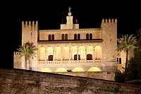La Almudaina Palacio Real Palace in Palma de Mallorca night view at Balearic islands