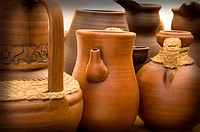 Pottery vases in a sample of handcrafts in Madrid, Spain, Europe