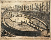 XVIII CENTURY ITALY LUCCA Dell'Anfiteatro VIEW WOOD Horse Racing  Lucca, Archivio Di Stato (National Archives)