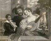 XVI CENTURY MUSIC DUET OF ENGRAVING R. BELL PRESS  Budapest, Zenetorteneti Muzeum (Music History Museum)