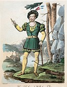 Gioacchino Rossini (1792-1868), Guillaume Tell (William Tell), 1828. Costume sketch for Guillaume Tell (Schober). Performance at Vienna, 1833.  Vienna...