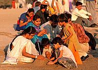 India, Maharashtra, Mumbai, Bombay, Chowpatty Beach, people,