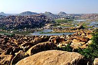 India, Karnataka, Hampi, on the World heritage list of UNESCO, former capital of Vijayanagara kingdom, the Tungabhadra river valley