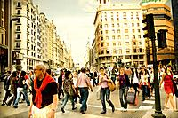 People in Callao square, Madrid, Spain