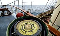 Compass aboard of the tall ship Thalassa English Channel, United Kingdom, Europe