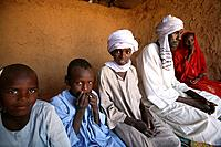 Sudanese family in refugee camp