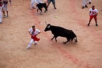 Celebration of the Fair of San Fermin at Plaza de Toros, Pamplona, Spain, Europe