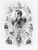 Portrait of Alessandro Manzoni (Milan 1785-1873), Italian writer and poet, framed by depictions of characters of The Betrothed. Engraving