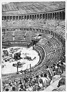 Francesco Bertolini (1836-1909), Early history of Rome, 1890 edition. Colosseum during a fight against animals (venationes). Illustration by Ludovico ...